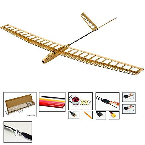 Alas de baile Hobby Balsa Planeador de madera, avión controlado por radio 3CH RC eléctrico, sin ensamblar corte láser UZI Aircraft Model Building Kits para adultos (F1404C)