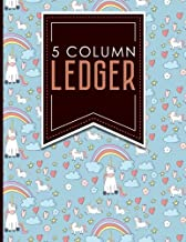 5 Column Ledger: Account Book Ledger, Accounting Notebook Ledger, Ledger For Accounting, Cute Unicorns Cover, 8.5