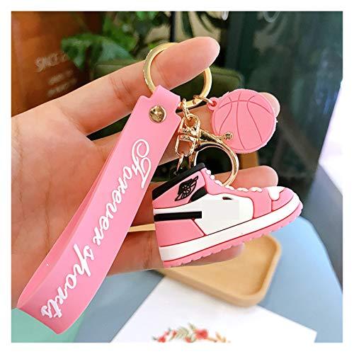 Schlüsselanhänger 3D Mini Nette Silikon Sneaker Module Schlüsselanhänger PVC Schuhe Schlüssel Ringe Tasche Zip Charms Unisex Geschenke (Color : Pink)