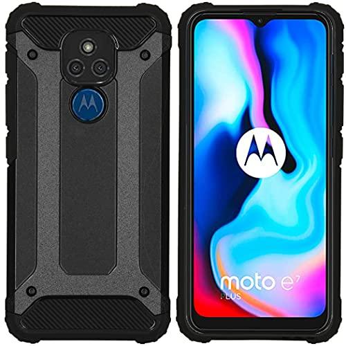 iMoshion Backcover Hülle kompatibel mit Motorola Moto G9 Play, Motorola Moto E7 Plus– Rugged Xtreme Back Cover Schutzhülle – Hard Hülle Handyhülle in Schwarz [Stoßabsorbierend, Dual-Layer Design]