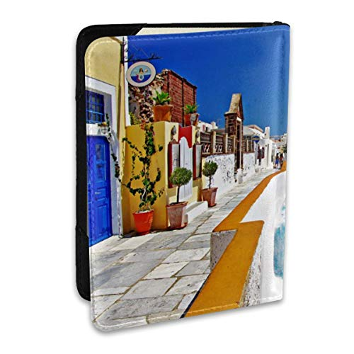 Santorini Greece Fashion Leather Passport Holder Cover Case Travel Wallet 6.5 In