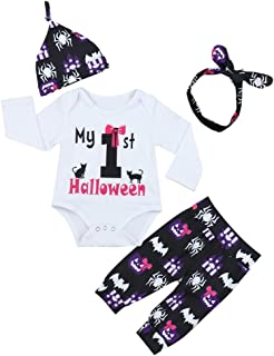 My First Halloween Baby Girl Outfits Print Long Sleeve Rompers Pants Leggings+ Headband+Hat Clothes Set - Black - 3-6 Months