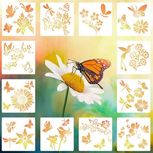 12 Stück Schmetterling Schablonen Frühling Themen Kunststoff Zeichnung Vorlagen Blumen Bienen Vorlagen Airbrush Vorlage DIY Wand & Möbel Dekoration Zeichnung Schablone, 15x15 cm