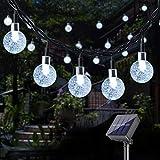 DeepDream Solar Lichterkette Aussen,40 LED 7.5M Kristall Kugeln 8 Modi Solarbetriebene Lichterkette Wasserdicht Außen Beleuchtung für Garten, Bäume, Weihnachten, Hochzeiten, Partys(Kaltweiss)
