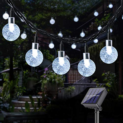 DeepDream Solar Fairy Lights Outdoor, 40 LED 7.5 m Crystal Balls 8 Modes Solar Powered Fairy Lights Waterproof Outdoor Lighting for Garden, Trees, Christmas, Weddings, Parties (Cold White)