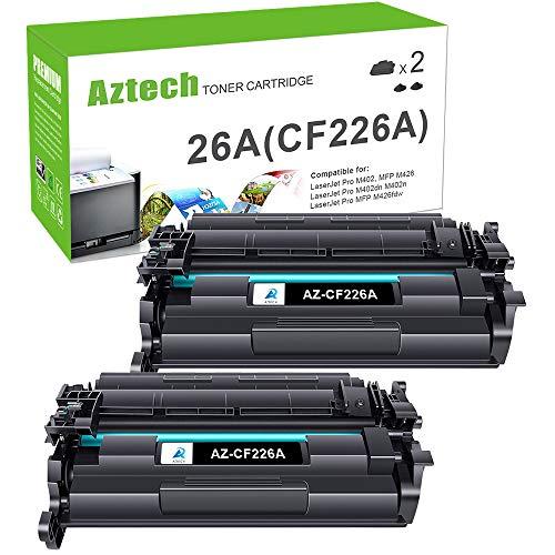 Aztech Compatible Toner Cartridge Replacement for HP 26A CF226A 26X CF226X Laserjet Pro M402dn M402n M402dw Laserjet Pro MFP M426fdw M426fdn M426dw (Black, 2-Pack)