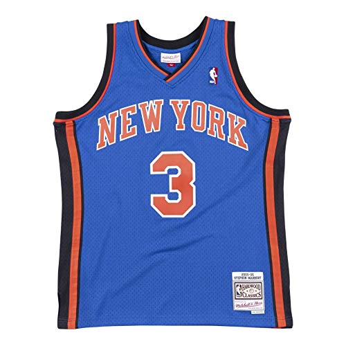 Mitchell&Ness M&N Maglia retrò da Uomo Swingman NBA con Adesivo da 7kmh N.Y. Knicks - S. Marbury S