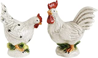 Creative Co-Op Stoneware Rooster And Hen Figurine Set - 2 Styles