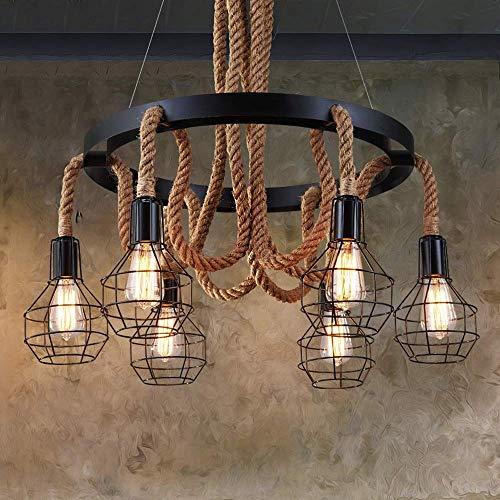 LHTCZZB E27 de 6 luz retro cuerda del cáñamo Loft Araña, industrial jaula de hierro antiguo pendiente de la luz americana lámpara colgante, cubierta de cocina restaurante de iluminación