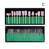 Kit profesional de brocas para uñas, WYZTLNMA herramientas de cabeza de pulido de lana de pulido para uñas para salón de uñas (C)