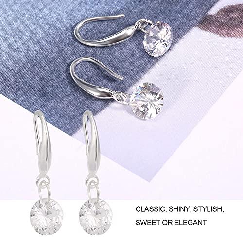 Shanrya Pendientes para Mujer, Pendientes, Pendientes De Aleación para Mujer, Fiesta De Amigos(Aretes de Plata con Diamantes y circonitas)