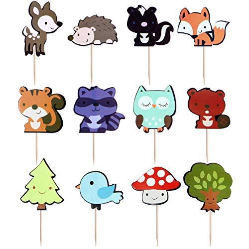 BESTOMZ Woodland Creatures Cupcake Toppers Waldtiere Freunde Kuchen Toppers Picks für Geburtstag Hochzeit Party Decor, 36 zählt