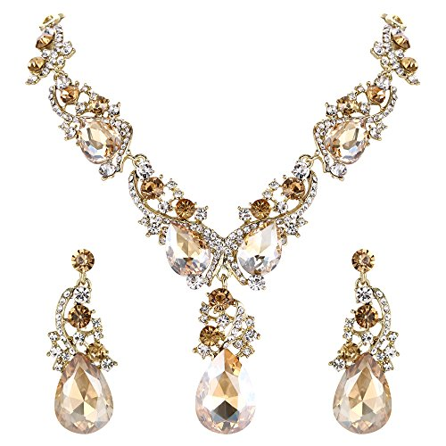 Clearine Damen Schmuckset Hochzeit Braut Kristall Tropfen Cluster Statement Halskette und Hängend Ohrringe Set Champagn Silber-Ton