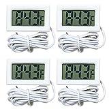 VOKARO 4-Pack Fahrenheit(℉) Digital Thermometer Wired for Indoor, Outdoor, Greenhouse, Garden (White)