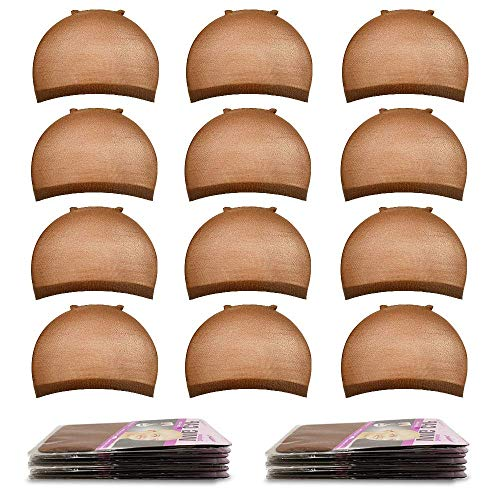 Ucrown Wig Caps for Lace Front Wig Brown Stocking Wig Cap for Women Bald Cap for Wigs, 12 Pack (Brown)