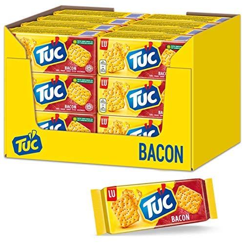 TUC Bacon 24 x 100g, Fein gesalzenes Knabbergebäck mit Schinkenspeckgeschmack