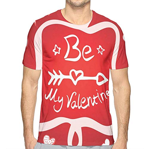 Mens T-Shirt,Traditional Greeting Card Design with Abstract Heart Shapes and An Ethnic Arrow XXL