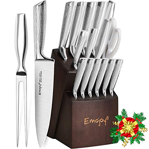 Knife Set, Emojoy 16-PCS Kitchen Knife Set with Carving Fork, Ripple Stainless Steel Hollow Handle for Chef Knife Set with Wooden Block, Perfect Cutlery Set Gift