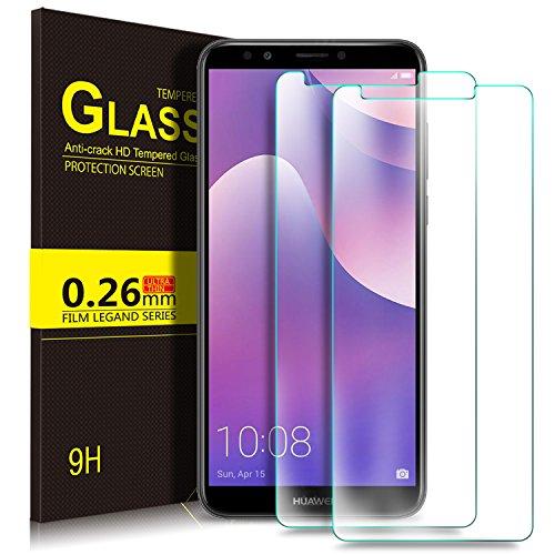 KuGi Huawei Y7 2018 Schutzfolie, 9H Panzerglas Hartglas Glas Display Schutzfolie [Blasenfrei] [HD Ultra] [Anti-Kratzer] Displayschutz Für Huawei Y7 2018 / Prime 2018 Smartphone. Klar [2 Pack]