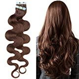 18'(45cm) SEGO Extensiones Adhesivas Rizadas de Cabello Natural 20PCS [#4 Marrón Medio] 100% Remy Pelo Humano sin Clip Tape in Hair (50g)