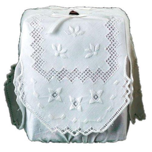 Tissue Box Cover White Linen Square with Milano Mosaic