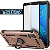 6goodeals Case for Motorola Moto E6 with Full Coverage Tempered Glass Screen Protector