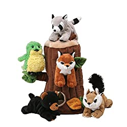 forest animals plush set with tree
