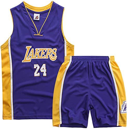 YCJL Camiseta De Baloncesto NBA Jersey Kobe Bryant # 24 Lakers Camiseta Y Pantalones Cortos De Baloncesto Traje De Jersey para Niños, Traje Deportivo De Malla Transpirable,Púrpura,M:130~140cm