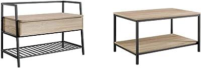 Sauder North Avenue Storage Bench, Charter Oak Finish & North Avenue Coffee Table, Charter Oak Finish