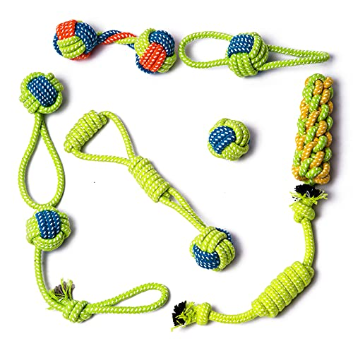 Ninegotengo Puppy Chew Dog Rope Toy. Puppy Teething Chew Toys.Interactive Durable Tough Pet Cotton Rope Toys for Small/Medium Dogs. Dog Toys for Aggressive Chewers to Prevent Boredom 8 Pack