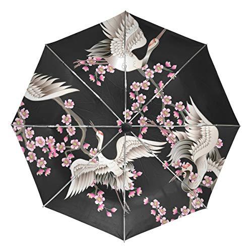 Kleiner Reiseschirm Winddichter Regen im Freien Sonne UV Auto Compact 3-Fach Regenschirmabdeckung - Rosa Sakura-Zweige und weiße japanische Kraniche
