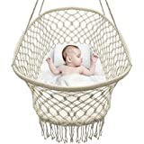 Baby Crib Cradle Hanging Bassinet and Portable Swing for Nursery Macrame Rope Fringe (Off White) White Cotton