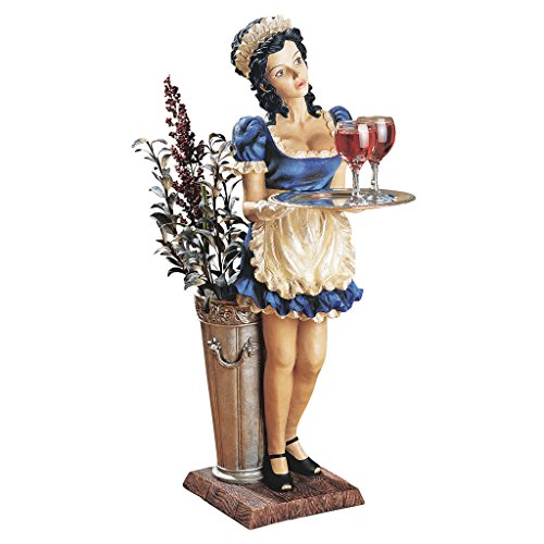 Design Toscano Genevieve the Buxom French Maid Pedestal Sculptural Table,Full Color