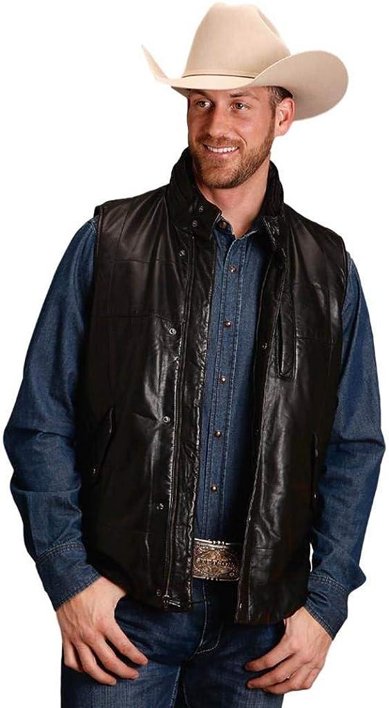 Stetson Western Vest Mens Leather Zip Black 11-097-0541-7037 BL