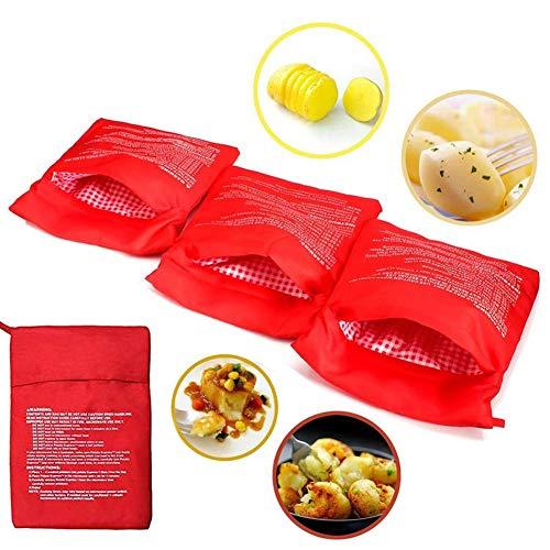 YUIP 4 Pcs Sacchetto per Patate Microonde,Microonde Patata Fornello Borsa,Potato Express,Sacchetto per Patate al Microonde,Lavabili Riutilizzabili Microonde Patate Bag,Red