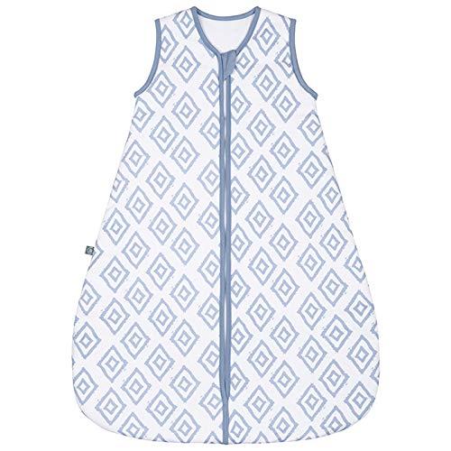 emma & noah Premium Baby Schlafsack, Flauschig Weich, Bequem & Atmungsaktiv, 100% natürliche Baumwolle, Großzügige Bewegungsfreiheit, 2.5 TOG (Rauten Blau, 0-3 Monate / 60 cm)