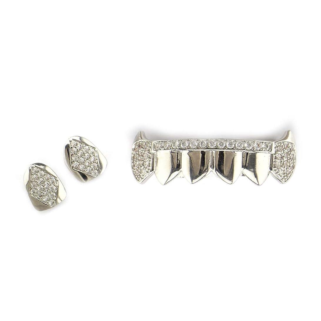 直立フォーラム方法論マウストップデンタルグリル用 ゴールドグリルの歯セット友達に最高の贈り物 - ゴールドメッキGrillx - 歯のすべてのタイプのための優れたカット - 上下のグリルセット - ヒップホップブリンブリングリル ゴールドメッキヒップホップポーカー歯キャップ (色 : 銀)