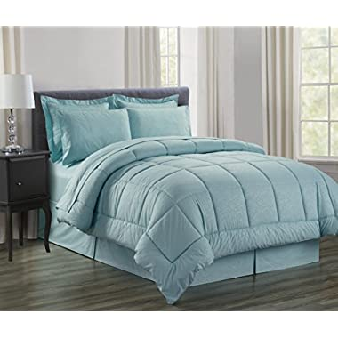 Sweet Home Collection 8Piece Bed in A Bag with Dobby Stripe Comforter, Sheet Set, Bed Skirt, & Sham Set - Queen, Vine Turquoise,Queen