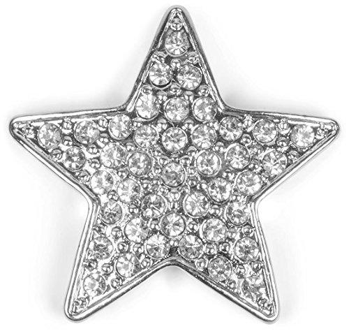 styleBREAKER Magnet Schmuck Anhänger Stern Design mit Strass für Kleidung, Schals, Tücher und Ponchos, Brosche, Damen 05050043, Farbe:Silber
