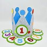 Der Wollprinz Corona de cumpleaños para niños, color azul/gris con los números del 1 al 9.