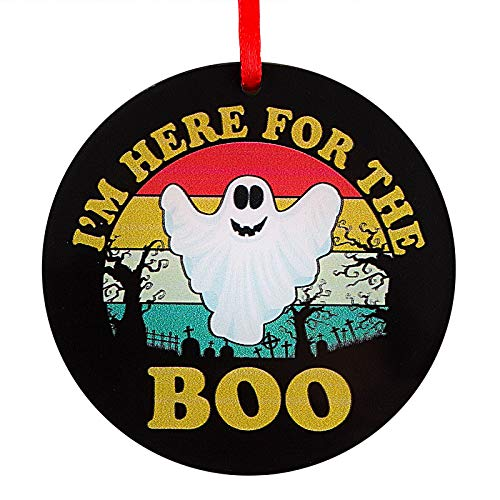 SICOHOME Christmas Ornament 2020,3' Halloween Ghost Ornament,I'm Here for The Boo,Halloween Decorations