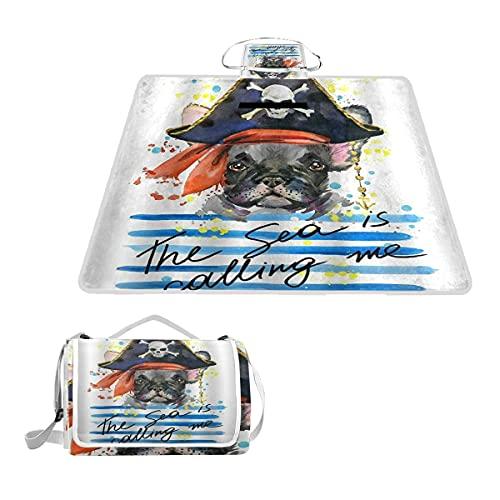 WINCAN Coperta da Picnic Impermeabile,Pet tema acquerello pirata bulldog francese arte Portatile Coperta da Spiaggia Telo da Campeggio per Viaggi Giardino Yoga Erba,145x150cm