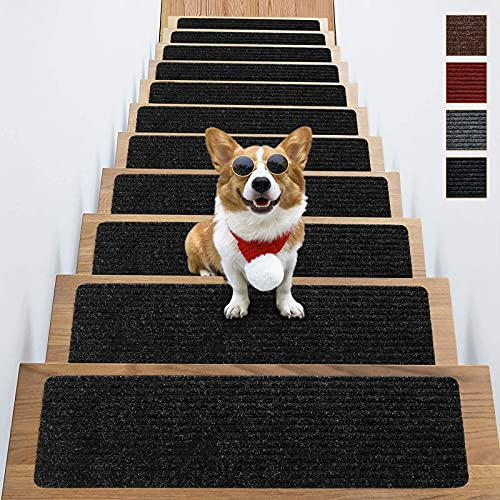 Naiees Stair Treads Non-Slip Indoor,8' X 30' Black Set of 15 Pack stair treads carpet,Safety for Kids Elders and Dogs with Reusable Self Adhesive Rug
