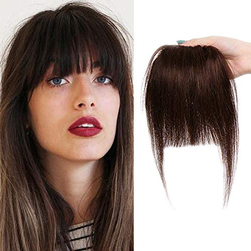 SEGO Frangia Capelli Veri Frangetta Clip Voluminoso 100% Remy Human Hair Bang Naturali Umani Lisci Fascia Unica Fringe 25g # Castano Cioccolato