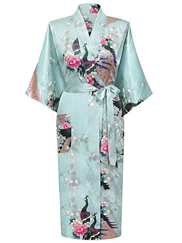 Albornoz Mujer Largo Pava Satén Camisón Sexy Kimono