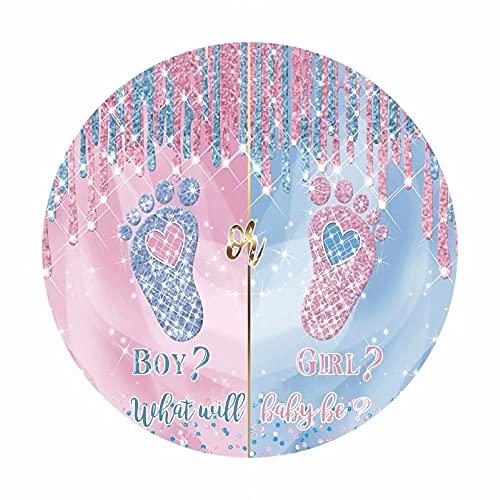 Leowefowa 1,5x1,5m Poliéster Baby Shower Telón de Fondo Redondo Niño o niña Revelación de género Lentejuelas con Purpurina Rosa Azul Fondos para Fotografia Fiesta Bebé Infantil Props Photo Booth