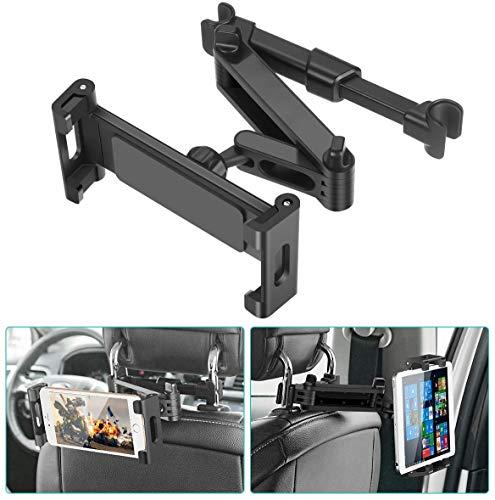 SAWAKE Car Headrest Mount, 360° Angle Adjustable Headrest Tablet Mount, Universal Tablet Holder for Car Backseat, for 5' to 14' iPad/Tablet/Smartphone/Nintendo Switch
