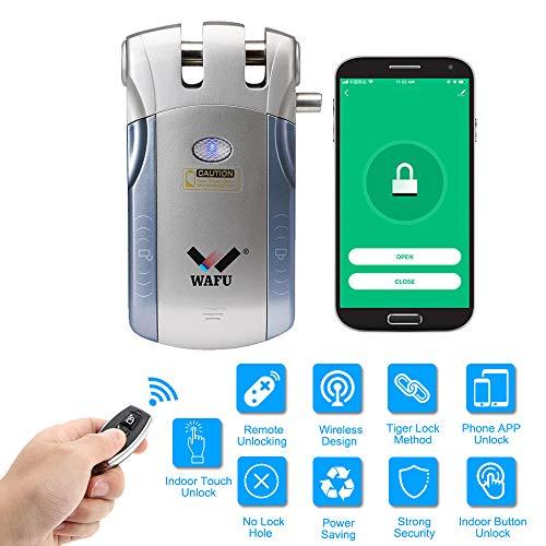 WAFU HF-010W Cerradura Invisible, Cerradura Inteligente WiFi, Cerradura Control Remoto con 2 Controles Remotos, Soporta Desbloqueo de Táctil y Desbloqueo de Aplicaciones iOS/Android, Azul + Plata