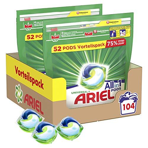 Ariel Wasmiddel Pods All-in-1, 104 wasladingen, stralend zuiver, milieuvriendelijk wassen