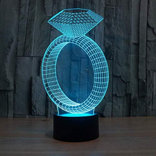 Creatieve 7 kleuren wisselen, 3D-ring met diamanten, tafellamp, nachtlampje, sfeerlicht voor bruiloft, slaapkamer, romantisch geschenk